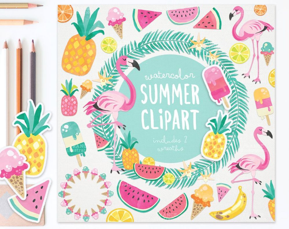 Watercolor Summer Clipart featuring Flamingos and Fruit.
